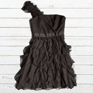 WHBM Black Ruffle One Shoulder Party Dress